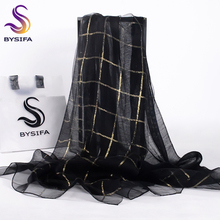 [BYSIFA] Women Black Gold Plaid Silk Scarf Shawl Ladies Fashion Accessories Brand 100% Silk Organza Long Scarves Wraps 190*70cm(China)