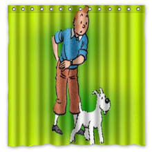 180x180cm The Adventures of Tintin Bathroom Waterproof Polyester Shower Curtain Mouldproof Fabric Bath Curtain Bathroom Accessor(China)