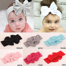 Pretty Cute Soft  Kid Stretch Bowknot Hairband Headband Knot Head Wrap Hot Selling