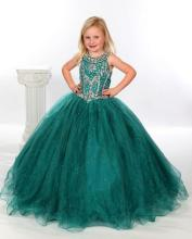Charming 2017 Dark green Arrival Little Girl's Pageant Dresses Jeweled Beaded Organza Ball Gown infant baby Flower Girl Dresses
