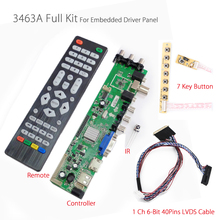 Z.VST.3463.A DVB-C DVB-T Universal LCD TV Controller Driver Board PC/VGA/HDMI/USB Interface+7key Button+1ch 6-bit 40pins Russian(China)