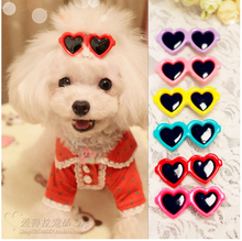 2pcs/1pair Fashion Style Pet Dog Hair Bows Dog Accessories Love Glasses Pet Dog Cat Hair Hairpin pet Accessories Products