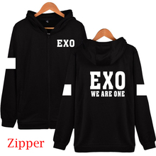 XXS 4XL Autumn winter kpop exo 2016 sing for you member name printing black hoodies fashion zipper EXP jackets plus size outwear