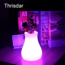 Thrisdar 16 Color USB Rechargeable Dining Restuarant Table Vase Lamp 10X10X15CM Outdoor LED Illuminated Furniture Bar Light