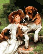 Latest By Numbers Drawing Kits Paint On Canvas Unique For Home Wall Art Picture DIY Oil Painting Little girl holding a puppy(China)