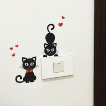 2Pcs Removable Love Cat Switch Stickers Carton Cover Protected Decoration Removable Wall Decal