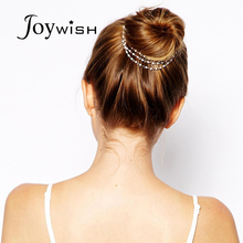 Fashion Accessories Hairwear Punk Hair Hand Chain Cuff Pin Clip Tassels Chains Head Band Simulated Pearl Wedding Hair Jewelry