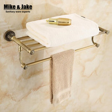 Whole brass towel shelf Antique brass bath towel rack Active bath towel rack bathroom cloth holder Antique Double towel shelf(China)