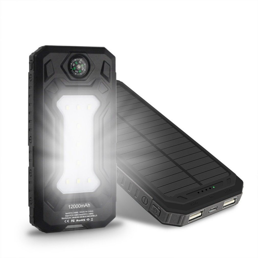 Wopow Solar power bank 20000 mah Mobile Phone Battery Dual USB Portable Charger Battery LED Light&Compass xiaomi iphone
