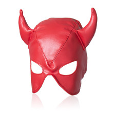 Sexy Red Adult Games Latex Faux Leather Sex Mask Men and Women Animal Bondage Fetish Mask Erotic Toys Sex Products For Couples