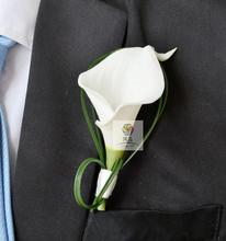 1 pcs lot white calla lily flower Corsage Groom groomsman Wedding party Man suit men Boutonniere pin brooch Hot Lapel Flower