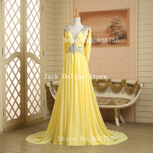 Real Photos Yellow Long Prom Dresses 2016  Long V Neck Vestido Crystal Chiffon Inexpensive/Cheap Us Size 2 -8 In Stock GK015