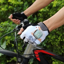 Unisex White Half Finger LED Turning Signal Glove Cycling Bike Bicycle Gloves With LED Light