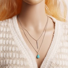 New Simple Fashion Bohemian Long Green stone Water Droplets Multilayer Metal Chain Tassel Pendant Necklace Jewelry Woman