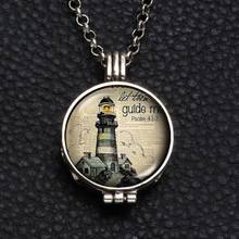 Perfume Aroma Pendant Necklace With Foam 25mm Glass Charms Lighthouse Multi Pattern For Man Women & Girl DZ1750(China)