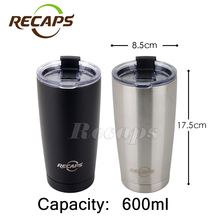 600ML stainless steel thermocup sports water bottle drinkware cup Coffee thermo mug double wall cup thermal mug(China)
