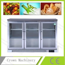 Free Shipping fruit/drink/cake/bread 3 push and pull glass door straight cooling refrigerated cabinet;display case(China)