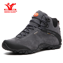 XIANGGUAN 01 New arrival men women mid cut waterproof outdoor sports boot Lovers high quality suede leather hiking shoes 82287
