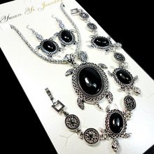 Fashion Jewelry lot Hot major Vintage Antique Silver Black stone tortoise Necklace Pendant Earring For Women Jewelry Sets LR101