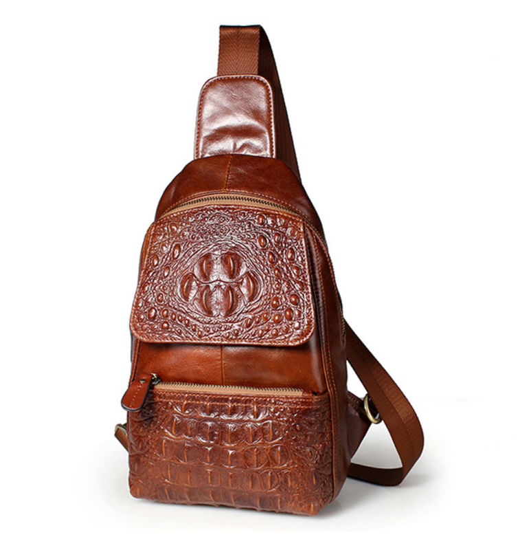 Men High Quality Oil Wax Genuine Leather Cowhide Messenger Shoulder Cross Body Bag  Vintage Sling Chest Back Day Pack <br>
