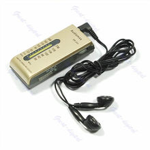 2016  newest Portable AM/FM 2 Band Pocket Radio Receiver + Earphone #Beigefree shipping