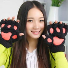 2017 Winter Women Paw Gloves Fingerless Fluffy Bear Cat Plush Paw Gloves/Mitten Warm Ladies Half Covere Half Finger Gloves Luva(China)