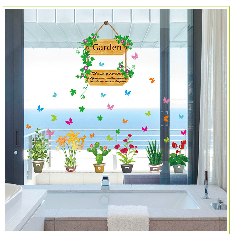 Factory explosion section wall stickers wholesale colorful butterfly flowers pots living room corridor glass decoration(China (Mainland))