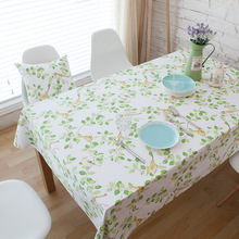 Hot Sale cotton fabric Cushion Leaves birds Tablecloth For Wedding Party Home Table cotton Cloth Cover Textile Decoration