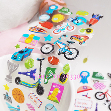 2017 New Fashion Cartoon Basketball Stickers Pasted Bubble Small Baby Toys Kindergarten Reward Street Sports Sticker(China)
