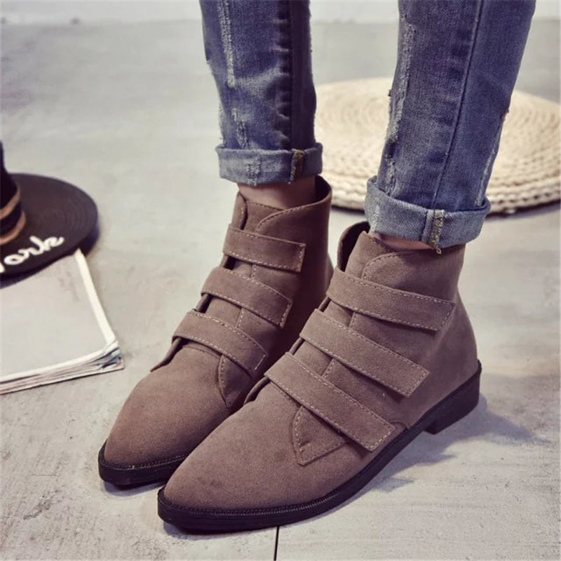 2017 Handmade Large Size Brown Chunky Heel Ankle Boots for Women Shoes Black Slip on Booties Chelsea Boots Suede Round Toe woman<br><br>Aliexpress