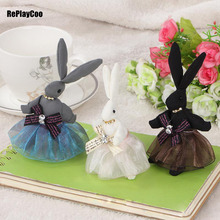 2Pcs/Lot Kawaii Mini Bunny Plush Toys Flower Rabbit Soft Stuffed Animal Toys Small Pendant By Phone Bags Gifts For Wedding 011(China)