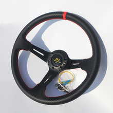 350mm Deep Dish Drifting Steering Wheel PVC Carbon Fiber Modified Car Steering Wheel Universal