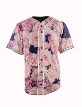 Real American Size  pink roses  3D Sublimation Print Custom made Button up baseball jersey plus size