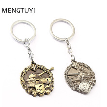 J Store Spartan Medal Cool Model keychain Game World Tanks Key chains For Women Men Jewelry car Keychain Chaveiro llaveros(China)