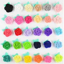 Free Shipping!2016 New 30pcs/lot Fashion handmade felt rose flower with green leaves Diy for hair accessories headband ornaments