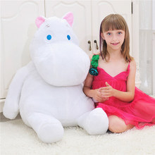1m Hippo Moomin White And Pink Back Cushion Home Decoration Appease Baby Plush Soft Animal Stuffed Toy For Girls Baby Kids Gift