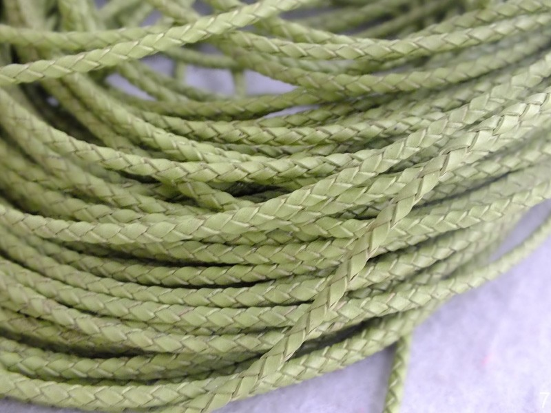 Green Brided Leather Cord With 3mm Cord For Necklace Jewelry Making  W-3963