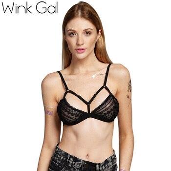 Wink Gal Sexy Lady Women Lace Lingerie Sleepwear Underwear Bra Nightwear Black 1649
