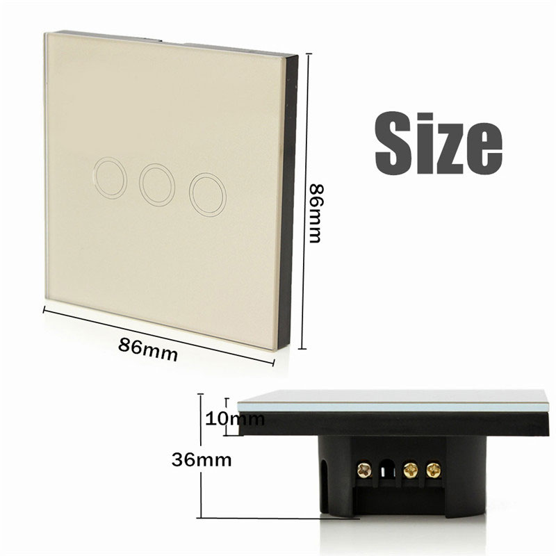 Sale Safety 0.02W 1 Way 3 Gang Crystal Glass Panel Smart Touch Light Wall Switch Remote Controller AC110V-240V<br><br>Aliexpress