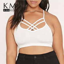 kiss milk plus size summer western style fashion loose solid backless 3XL-6XL large size 2 colors woman's Casual short camis(China)