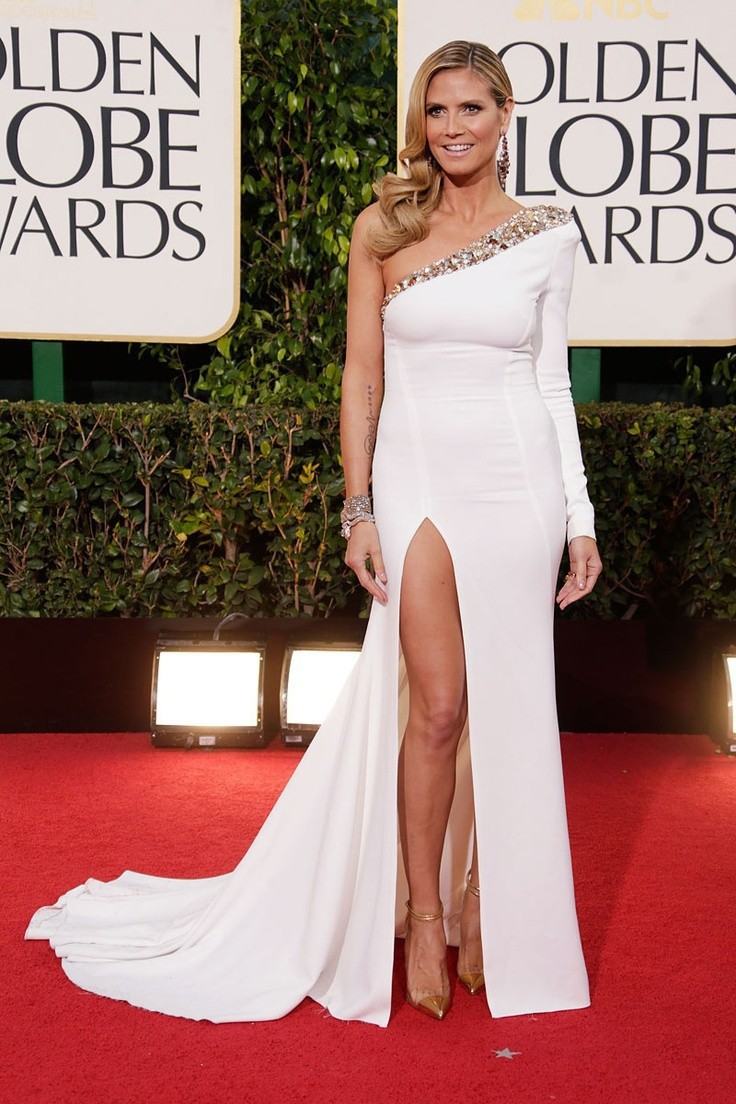 Heidi Klum High Split 2017 70th Golden Globe Awards Dresses White Beading One Long Sleeve Celebrity Red Carpet In Inspired