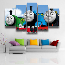 Unframed 5 Pieces Set HD Thomas Friends Movie Posters Wall Painting On Canvas Cartoon Train Picture Oil Painting Home Decoration(China)