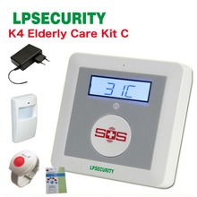 GSM Elderly guard alarm K4 Disabled Help emergency button with SOS button, Pir sensor, power adaptor(China)