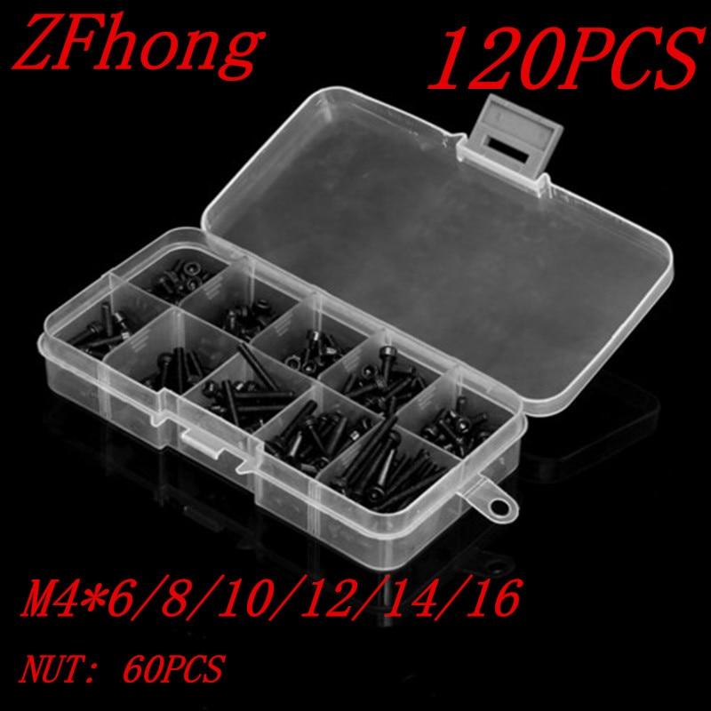 120pcs M4 hex socket Screw Kits DIN912 Black Hex Socket Head Cap Screw With Nut M4*6/8/10/12/14/16mm <br><br>Aliexpress