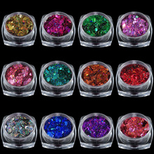 12 pieces / set of ultrasound round with streak laser nail art sequins 3d nails glitter decorations kits UV gel manicure accesso