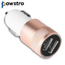 Powstro Universal Aluminium Dual USB Car Charger 12-24V 2.1A Vehicle Charger for iPhone 5 6S ipad Samsung Galaxy S4 S5 Tablet(China)