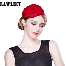 A083 Red Hot Pink Flower Womens Vintage Fascinator Wool Pillbox Hat Party Wedding Fashion Headgear Women
