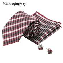 Mantieqingway Plaid Cuff links 8.5cm Gravata Set For Men Classic Polyester Yarn Hanky CuffLinks Corbata Set For Business