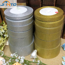 Buy 25 Yards 6mm Wide Gold/Silver Glitter Shiny Ribbon Wedding decoration Party fiesta DIY Glitter Shiny Ribbon for $1.39 in AliExpress store