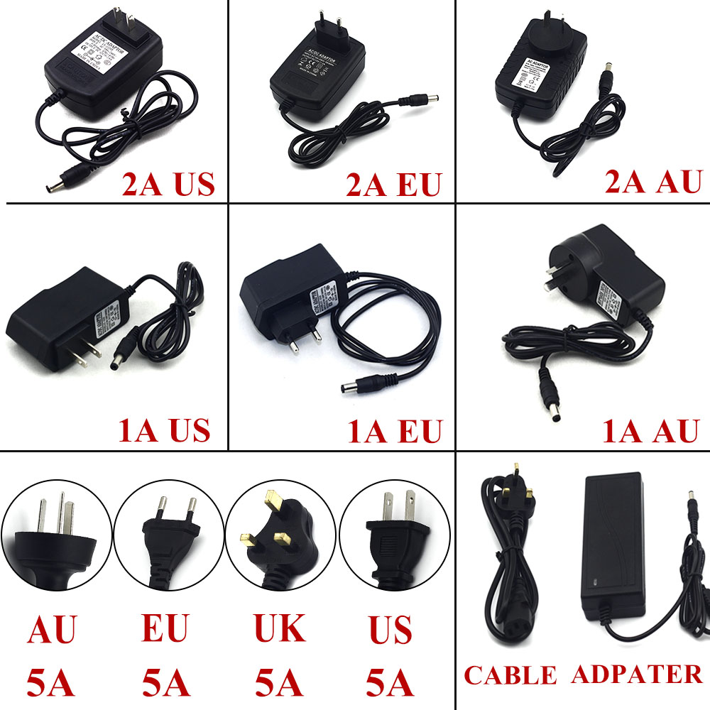 1A 2A 5A Power Adapter for Led Strip 12W 24W 60W DC 12V Voltage Transfomer with EU US UK AU Plug Power Supply Led Driver(China)